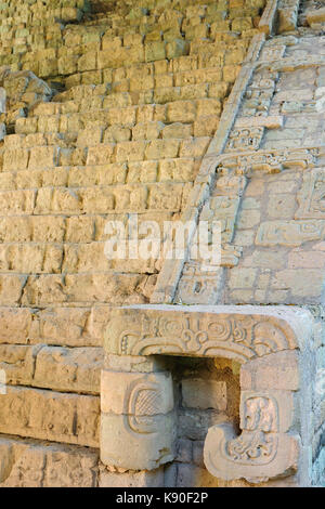 Honduras, Mayan city ruins in Copan. The picture presents detail of decorating stairs - Stock Photo
