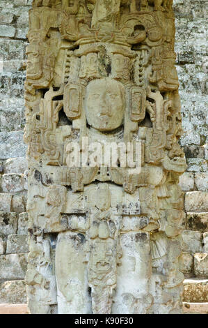 Honduras, Mayan city ruins in Copan. The picture presents Stella by stairs - Stock Photo