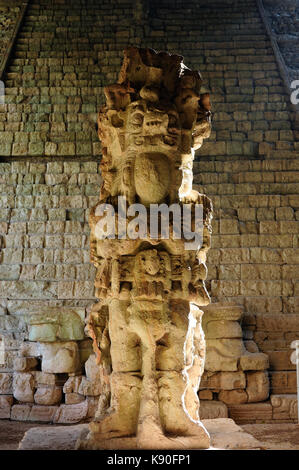 Central America, Honduras, Mayan city ruins in Copan. The picture presents Stella by stairs - Stock Photo