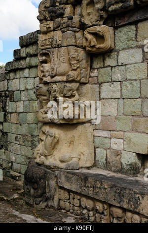 Honduras, Mayan city ruins in Copan. The picture presents detail of decorating walls of the temple - Stock Photo