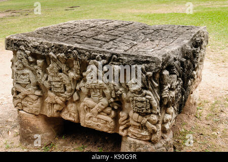 Central America, Honduras, Mayan city ruins in Copan. The picture presents detail of the Altar Q, a rectangular - Stock Photo