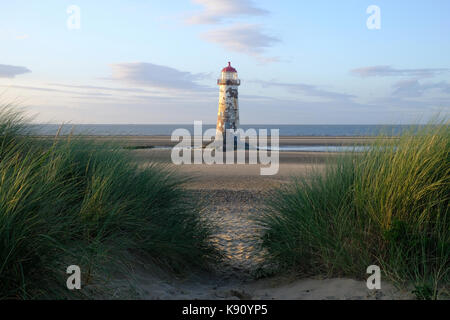 Talacre lighthouse on the North Wales coast in Flintshire - Stock Photo
