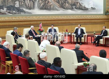 Beijing, China. 21st Sep, 2017. Chinese Vice Premier Zhang Gaoli meets with delegates to a media forum on the Belt - Stock Photo