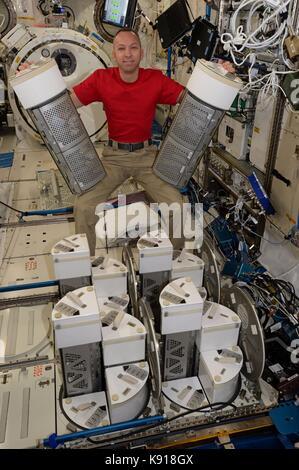 International Space Station, In Orbit. 21st Sep, 2017. NASA Expedition 52 crew member American astronaut Randy Bresnik - Stock Photo