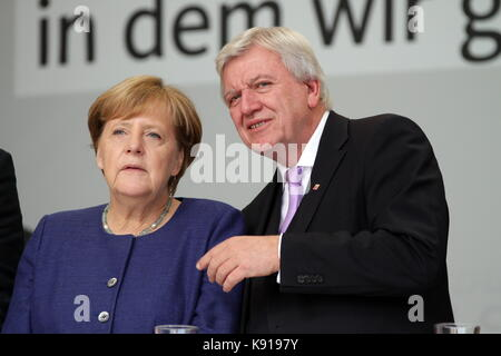 Giessen, Germany. 21st September, 2017. Angela Merkel, Chancellor of Germany holds an election campaign speech as - Stock Photo
