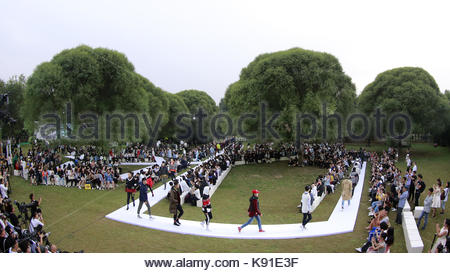 Beijing, China. 21st Sep, 2017. Cabbeen 20th anniversary fashion show hold at Olympic Forest Park in Beijing, China - Stock Photo