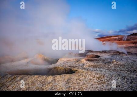 Sol de manana geothermal field in sud Lipez reserva Eduardo Avaroa, Bolivia - Stock Photo