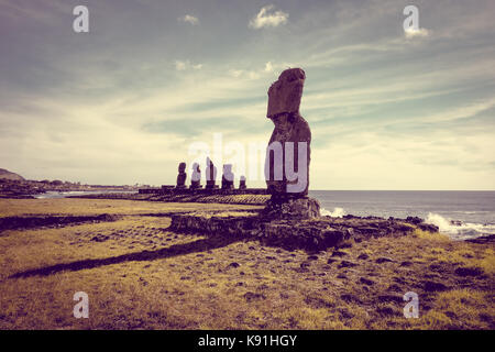 Moais statues, ahu tahai, easter island, Chile - Stock Photo