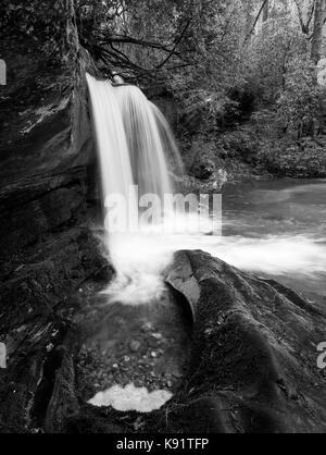 Raper Creek Falls is located in north Georgia in the county of Habersham.  The falls themselves are approximately - Stock Photo