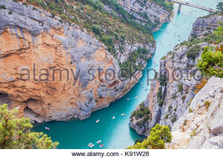 St Croix Lake, Gorges du Verdon, Provence-Alpes-Cote d'Azur, Provence, France - Stock Photo