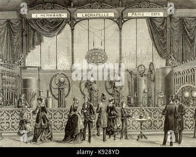 France. Paris. Universal Exhibition of 1878 held at the Trocadero. Installation by J. Hermann Lachapelle. Continuous - Stock Photo