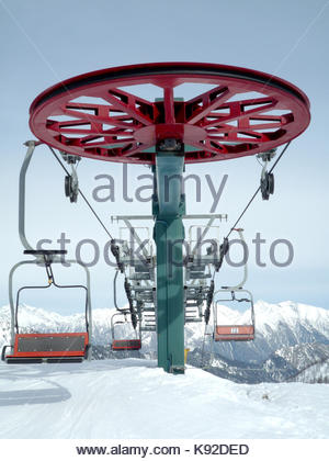 arrival point of a chairlift in Champorcher Italian alps Valle d'Aosta - Stock Photo