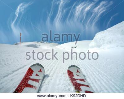 ski tips on a slope at Monte Rosa Ski Valle d'Aosta Italy - Stock Photo