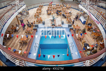 Aft deck on board the Marco Polo - Stock Photo