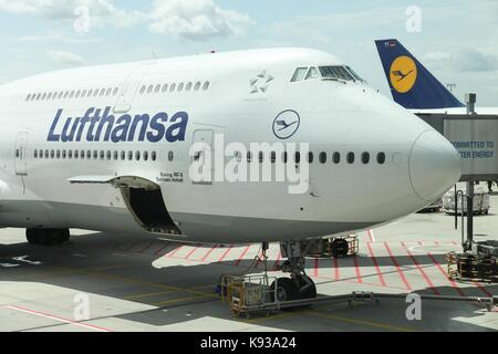 Frankfurt, Germany - July 30, 2017: Lufthansa boeing 747 at Frankfurt airport.Lufthansa is a german airline and - Stock Photo