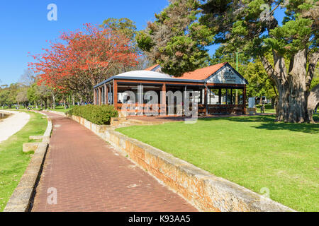 Bayside Kitchen cafe on the promenade along the Matilda Bay Reserve on the Swan River at Crawley, Perth, Western - Stock Photo