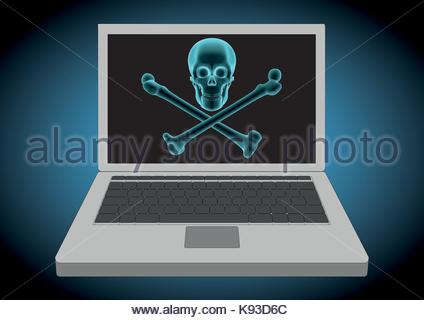 laptop computer hacked displaying a pirate flag with skull and crossbones. Computer and modern criminal activity - Stock Photo