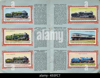 CIGARETTE CARDS, RAILWAY ENGINES, TRAINS, LOCOMOTIVES, STEAM TRAINS, VINTAGE - Stock Photo