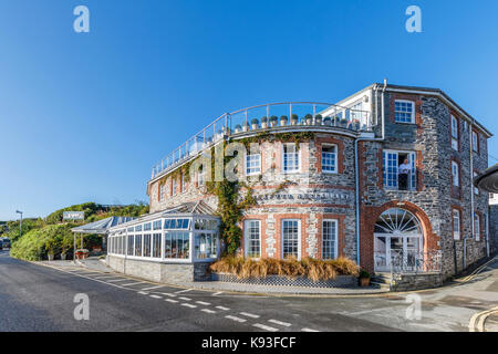 Exterior view of Rick Stein's Seafood Restaurant, Padstow, a small fishing village on the west bank of the River - Stock Photo
