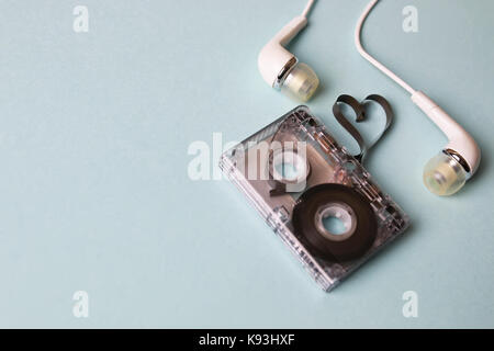 audio tape on a blue background - Stock Photo