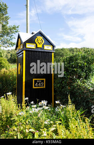 A Lovely Old Styled Automobile Association AA Telephone Box No 442 in a Layby near Aysgarth on the A684 North Yorkshire - Stock Photo