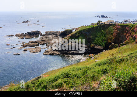 The headland of the The Lizard Point, Cornwall, mainland UK's most southerly point - Stock Photo