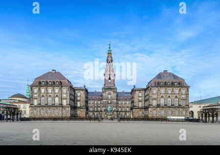 Exterior view of the facade of Christiansborg Palace, on the island of Slotsholmen, the Danish Parliament Folketinget, - Stock Photo