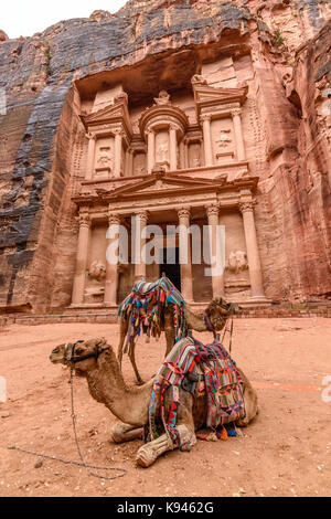 Exterior view of the rock-cut architecture of Al Khazneh or The Treasury at Petra, Jordan, camels in the foreground. - Stock Photo