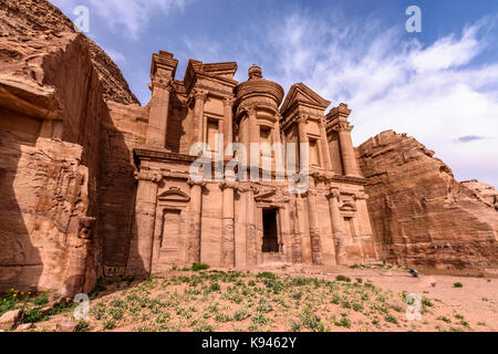 Exterior view of the rock-cut architecture of El Deir or The Monastery at Petra, Jordan. - Stock Photo