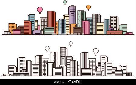 Modern city, view. Cityscape, urban landscape, construction concept. Vector illustration - Stock Photo