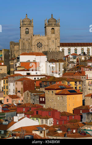 City view to Sé do Porto Cathedral Porto Portugal - Stock Photo