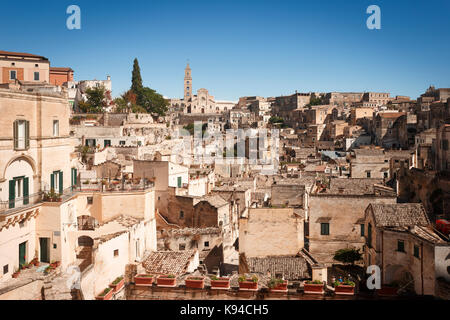 Civita and Cathedral, Sassi di Matera, Basilicata, Italy. - Stock Photo