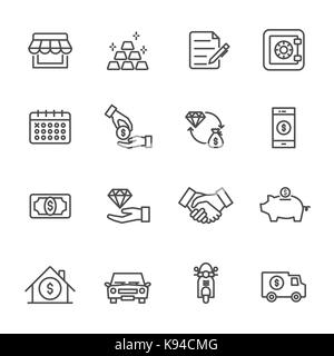 Pawnbroker, pawn shop icons set, Vector illustration of thin line icons for business, banking - Stock Photo