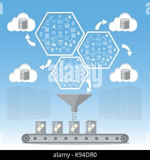 Business intelligence processing and Database management concept. - Stock Photo