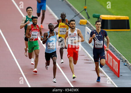 Adam KSZCZOT (Poland), Nijel AMOS (Botswana), Pierre-Ambroise BOSSE (France) competing in the Men's 800m Heat 5 - Stock Photo