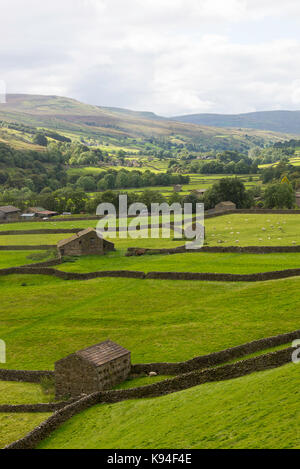 The View Up Swaledale Towards Gunnerside in The Yorkshire Dales National Park Yorkshire England United Kingdom UK - Stock Photo