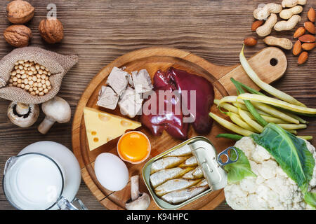 Foods rich in Biotin (vitamin B7). Foods as liver, eggs yolk, yeast, cheese, sardines, soybeans, milk, cauliflower, - Stock Photo