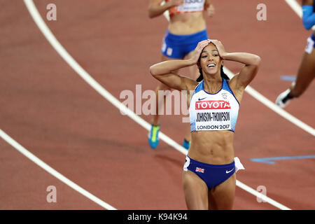 Katarina JOHNSON-THOMPSON (Great Britain) after competing in the Heptathlon 200m Heat 4 at the 2017, IAAF World - Stock Photo