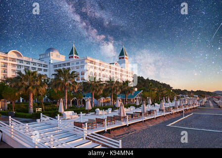 TEKIROVA Turkey - April 25, 2017 Beach Hotel Olen Cluses. Type entertainment complex. Amara Dols Vita Luxury Hotel. - Stock Photo