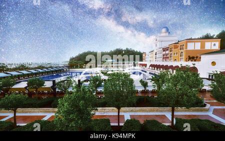 TEKIROVA Turkey - April 25, 2017: Fantastic starry sky and the Milky Way at Olen Cluses hotel. Type entertainment - Stock Photo