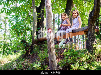 Twin girls resting and sitting on bench in woods. Active children are hiking in the mountains or forest and are - Stock Photo