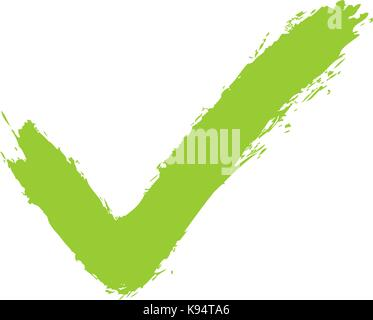Green check mark sign addition icon. Quick and easy recolorable shape isolated from background. Vector illustration - Stock Photo