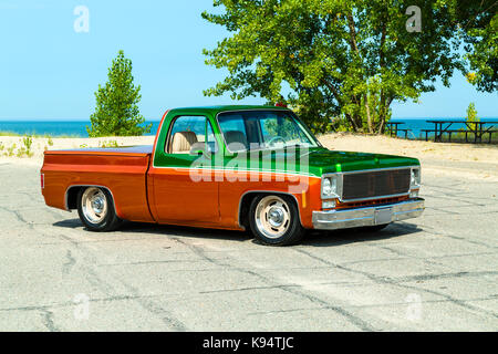 1975 GMC  Siera Grande Two Tone Pickup Truck - Stock Photo
