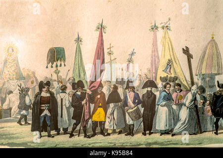 Ancient Paint from the 'Voyage en Sardaigne' by La Marmora 1826  - Procession of Sassari - Stock Photo