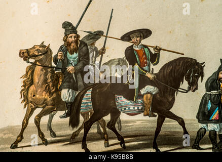 Ancient Paint from the 'Voyage en Sardaigne' by La Marmora 1826 - Militants in service - Stock Photo