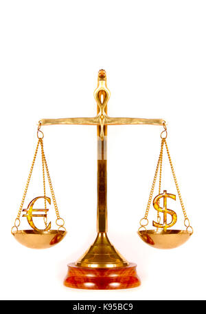 Euro and Dollar symbols on a weighing scale - Stock Photo