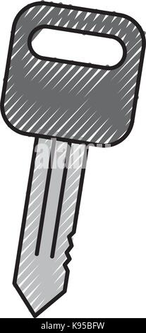 car key auto service repair isolated icon on white background - Stock Photo