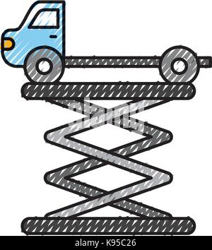 tow truck side view platform service maintenance - Stock Photo