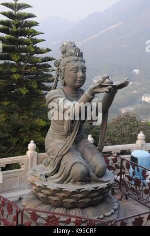 Tian Tan Buddha, The Big Buddha and Po Lin Monastery  Inside the Buddha is a Buddhist memorial site with named plaques - Stock Photo