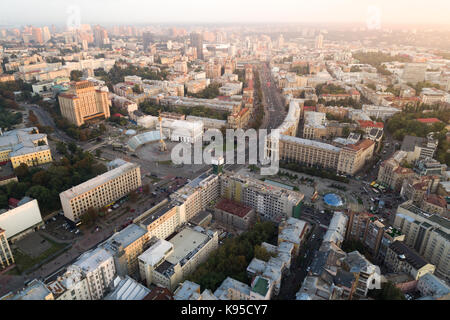 A view from the air to the central street of Kiev - Khreshchatyk, the European Square, Independence Square, Stalin - Stock Photo